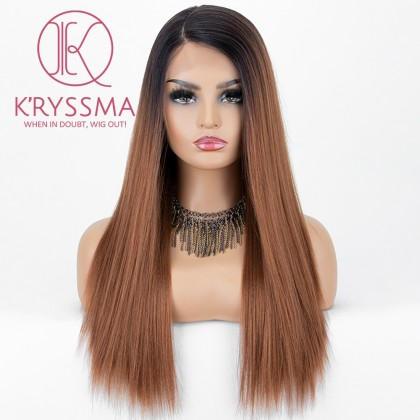 Ombre Brown Lace Front Wig With Dark Roots Straight Long Synthetic Wig Glueless Heat Resistant Wigs For Women