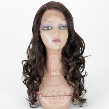Dark Brown Lace Front Wig with Dark Roots