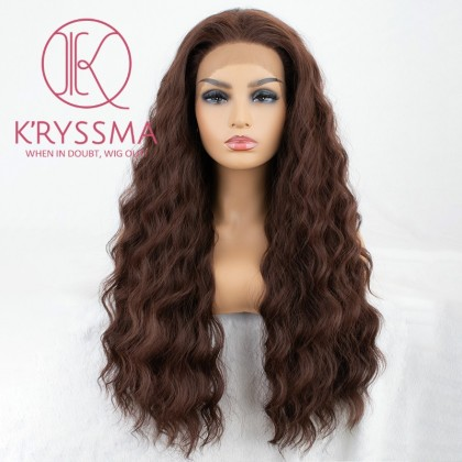 Brown Lace Front Wigs for Black Women Long Curly Wavy Synthetic Wig