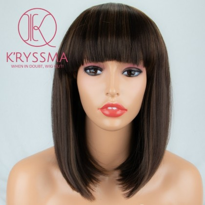 Brown Bob None Lace Synthetic Wig with Bangs for Women 12 inches