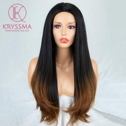 2 Tones Black and Brown Synthetic None-Lace Wig Heat Resistant 22 inches