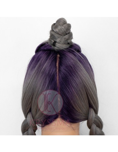 SPECIAL PARTING WIG Ombre Grey Long Straight Synthetic Lace Front Wig with Purple Roots