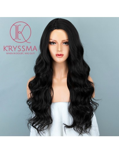Dark Brown Natural Looking Long Wavy Synthetic None-Lace Wigs 24 Inches