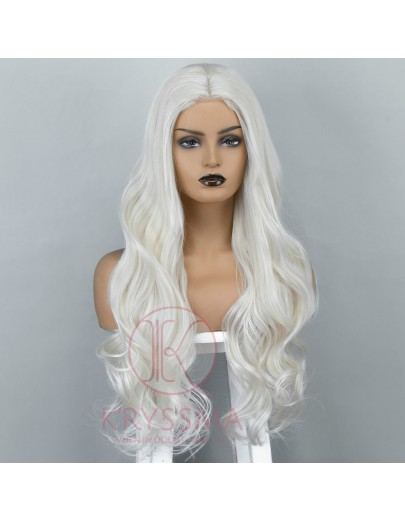 Platinum Blonde Long Wavy Synthetic Lace Front Wig