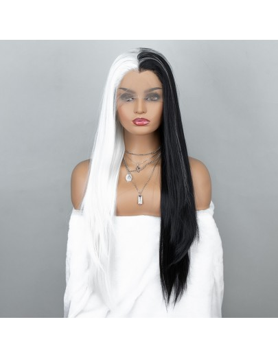 NEW ARRIVAL! Cruella Wig Half White and Half Black Lace Front Wig Cosplay Wig