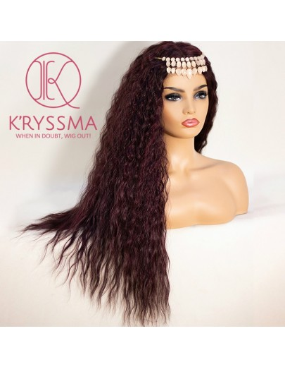 Blonde/Burgundy Wavy Curly Long Lace Front Wig 22 Inches