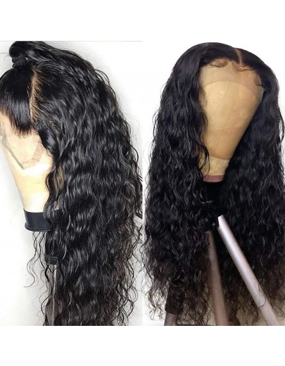 Black Loose Curly Long Synthetic Lace Front Wig for Women 22 inches with DEEP PARTING