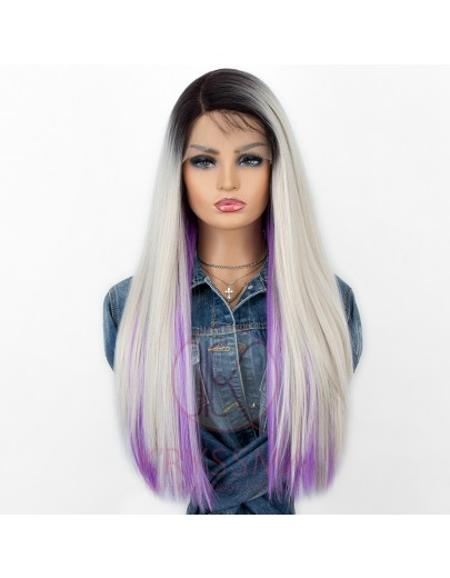 Special Style! Straight Ombre Platinum Blonde Wig Set. One Set includes One Lace Front and Two Hair Pieces with Buttons