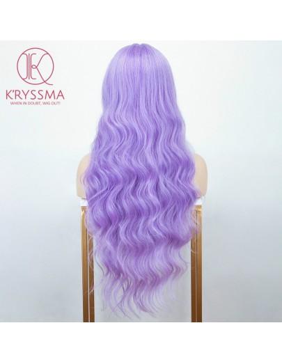 Light Purple Long Wavy L Part Lace Wigs Heat Resistant Synthetic Wig
