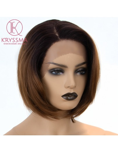Ombre Brown Short Bob L Part Lace Front Wigs