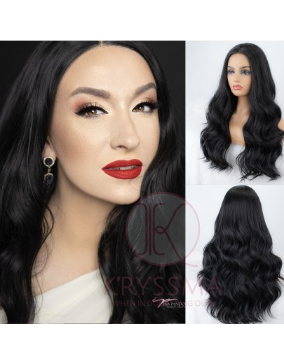 #1B Natural Black Long Wavy Synthetic Wigs 18 inches