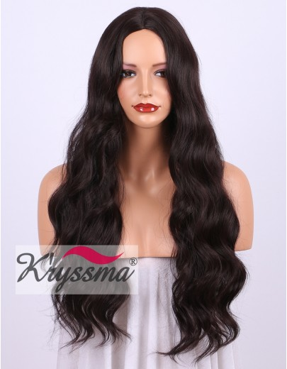 Dark Wine Red 99j Natural Looking Long Wavy Synthetic Wigs 24 Inches