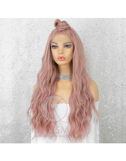 Orange Pink Long Wavy Synthetic Lace Front Wigs