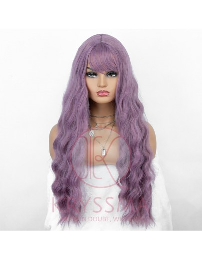 NEW ARRIVAL Long Wavy Purple None-Lace Wig with Bangs 22 Inches