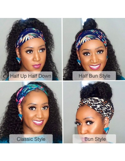 K'ryssma Headband Wig Curly Human Hair Wigs for Black Women 150% Density Brazilian Remy Deep Wave None Lace Front Wig with Full Ends Glueless Natural Color