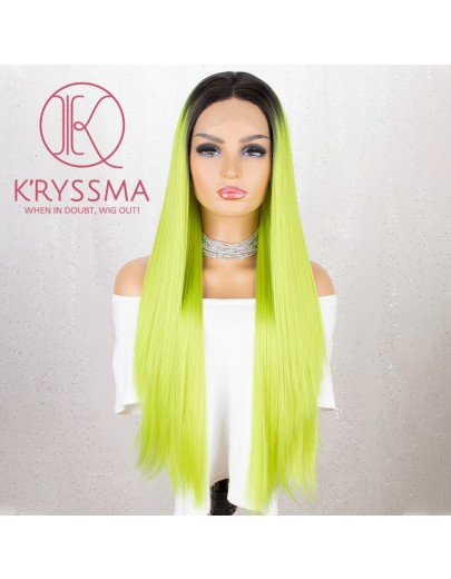Party Queen! Long Straight Fashion Fluorescent Green Ombre Lace Front Wig