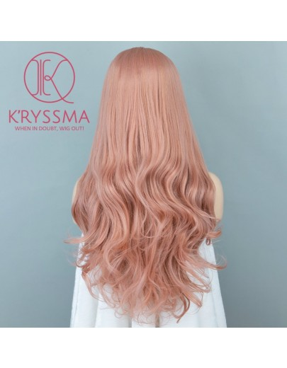 Hot! Orange Pink Long Natural Wavy Synthetic Lace Front Wig