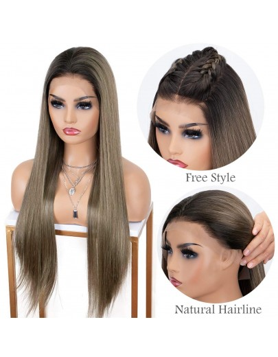 13x6 Lace Front Wig Brown Ombre Synthetic Wig with Dark Roots Natural Hairline Silk Straight 22 inches Long Brown Wigs