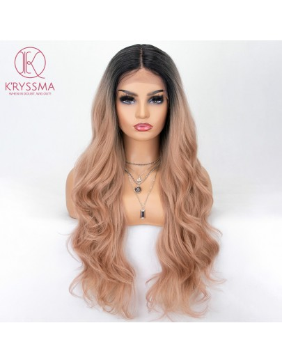 Pastel Pink Long Wavy Lace Front Wig Ombre Rose Blonde
