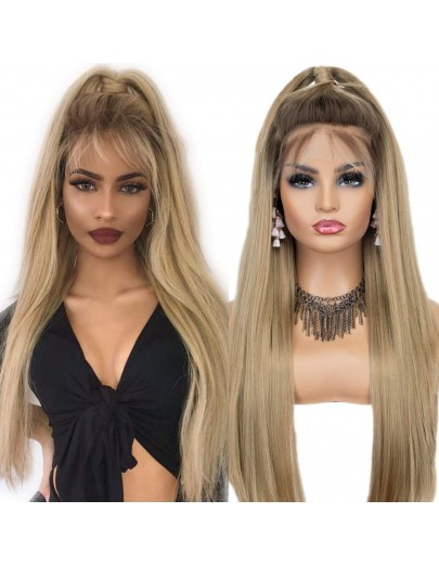 13x6 Ombre Blonde Long Silk Straight Lace Front Wig 22 Inches