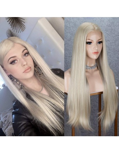 13x6 Lace Front Wig with Free Deep Parting Blonde 150% Density Glueless Natural Looking Long Straight Wigs Heat Resistant