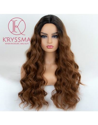 Ombre Brown Synthetic Non-Lace Wig with Dark Roots 22 inches