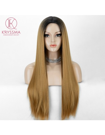 Honey Blonde Long Straight Cheap Wig 22 Inches + Wig Cap