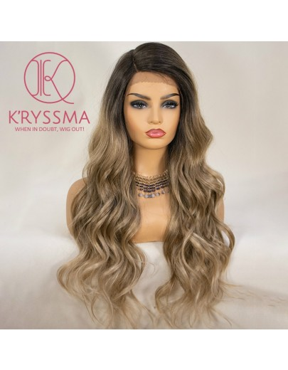 Olivia Recommend: Ash Blonde Lace Front Wig Ombre Long Wavy 22 Inches