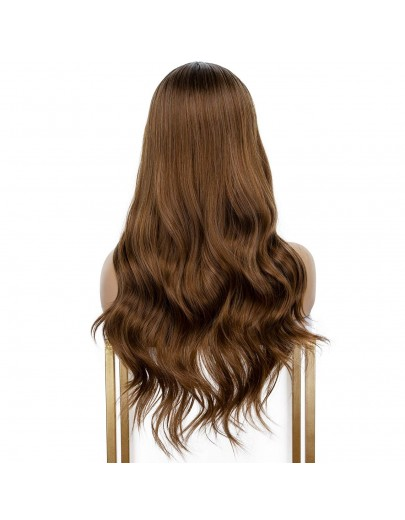 2 Tones Ombre Brown Middle Part Wavy Synthetic Wig Heat Resistant Wigs 20 Inches