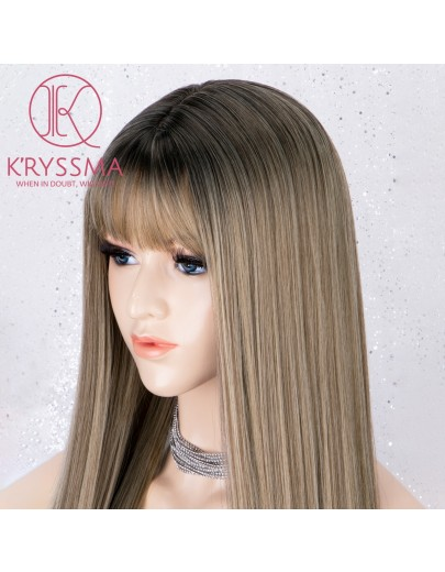 Ombre Brown Dark Roots with Bangs Long Straight Glueless Heat Resistant Wig 20 Inches