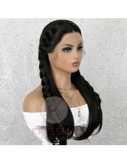 Black Long Natural Straight Lace Front Wig Gluless Synthetic Wig with Natural Hairline