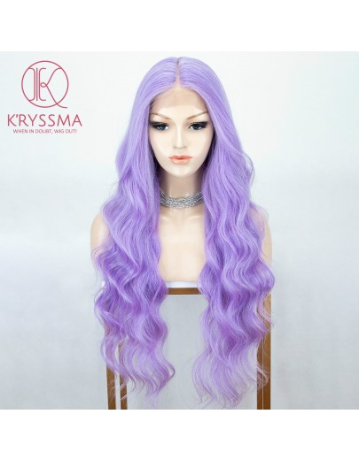 28 Inches Light Purple Long Wavy L Part Lace Wigs Heat Resistant Synthetic Wig