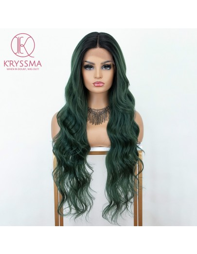 Ombre Green Long Wavy L Part Lace Front Wig with Dark Roots Heat Resistant 28 inches