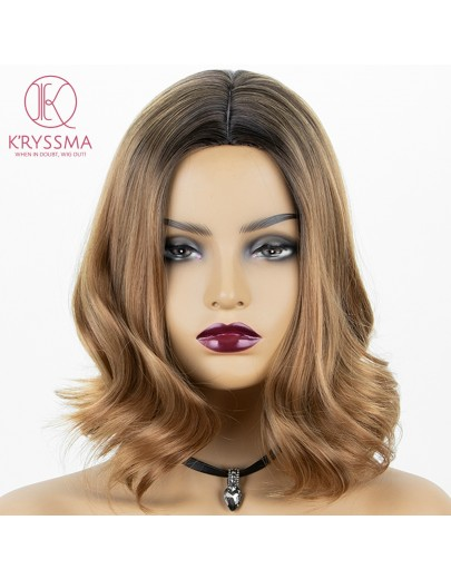 2 Tone Bob Wavy Brown None Lace Synthetic Wig Dark Roots 14 inches