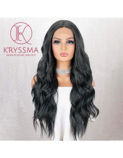 Dark Green Long Wavy Synthetic Lace Front Wig 22 inches