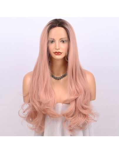 Orange Pink Lace Front Wig Ombre - Dark Brown Roots #4 to Mixed Rose Pink Long Natural Wavy Gluless Synthetic Wigs for Women Middle Parting Replacement Full Wig 22 inch