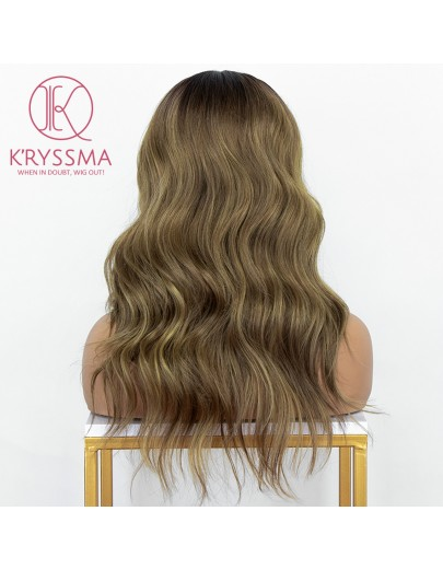 Brown Ombre Lace Front Wig Mix Blonde Glueless Wavy Synthetic Wig Deep Middle Part 16 Inches Long Brown Wigs for Women Heat Resistant