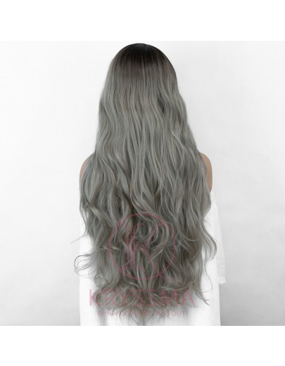 Ombre Grey Long Wavy Synthetic Wig with L Part Dark Roots