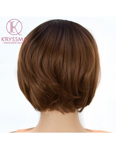 Ombre Brown Short Bob L Part Lace Front Wigs