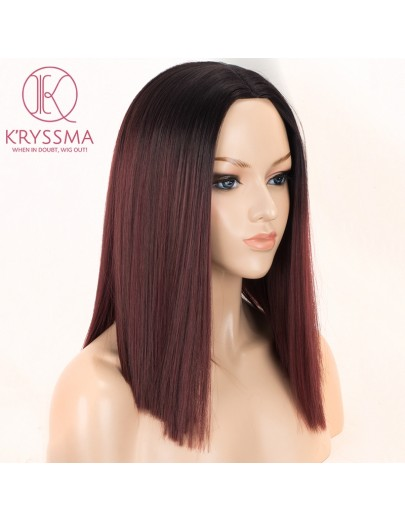 Dark Green Short Bob Synthetic None-Lace Wigs with Black Roots