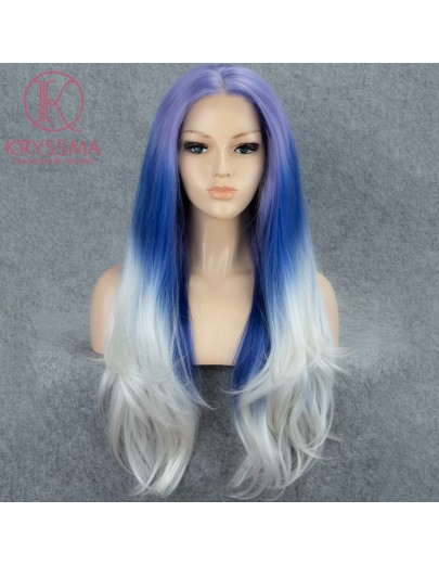 3 Tone Purple Blue to White Natural Straight Long Lace Front Wig 22 Inches