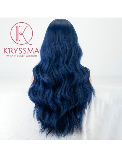 Dark Blue Long Wavy Synthetic Lace Front Wigs with Dark Roots 22 inches