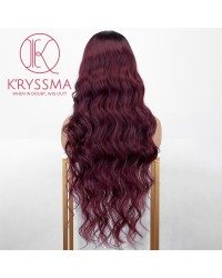 Ombre Purple Lace Front Wig With Dark Roots 99j Long Wavy Synthetic Wigs Glueless Heat Resistant Burgundy Ombre Wig