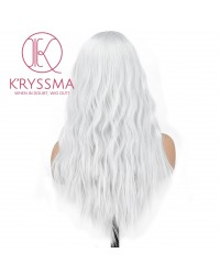 Sliver Grey None Lace Synthetic Wig 18 Inches Long Wavy Gray Wig For Women Cosplay Party Costume