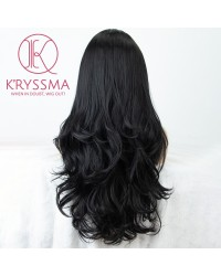 Natural Black #1B Lace Front Wig Soft Glueless Long Wavy Synthetic Wigs For Women Heat Resistant - Processing Time: 5 Days