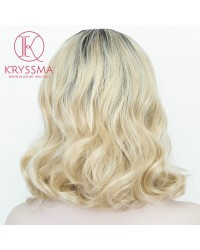 Ombre Blonde Lace Front Wig Short Bob with Dark Roots