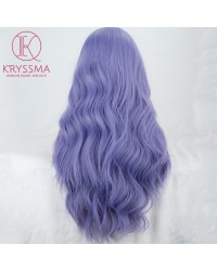 Fashion Purple Long Natural Wavy Lace Front Wig 22 Inches