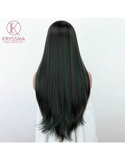 28 Inches Mixed Green lace front wigs Ombre Dark Roots Medium Length L Part Straight Synthetic Wigs Mixed Color Side Deep Parting