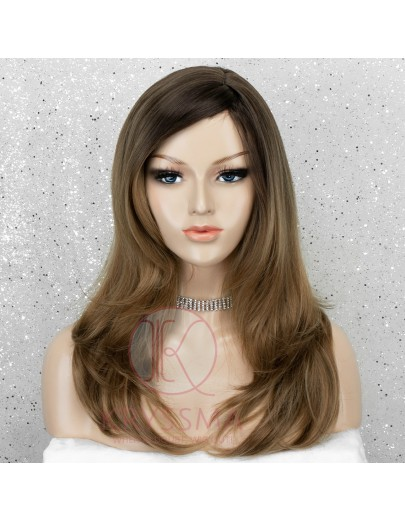 Ombre Ashy Brown Long Wavy Synthetic Wig Glueless Natural Looking with Side Bangs & Dark Roots