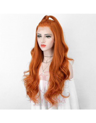 New 13x6 Orange Lace Front Wig with Free Parting Long Synthetic Wigs 150% Density Wavy Lace Wigs for Cosplay Heat Resistant 20 Inches